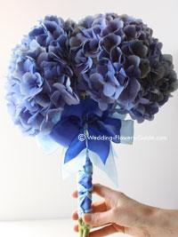 blue bridal bouquet created using hydrangeas