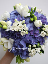 Blue hydrangea wedding flowers made for a bridesmaid
