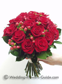 Christmas wedding bouquet made from red roses