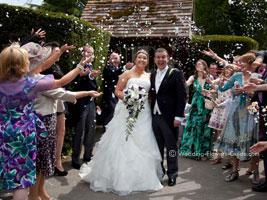 confetti shower after a church wedding