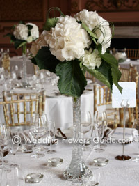 White hydrandea wedding centerpiece