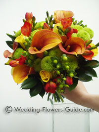 October wedding bouquet with mango calla lilies