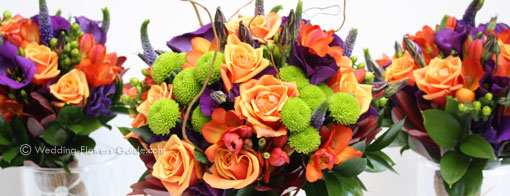 orange and purple wedding flowers for a fall wedding