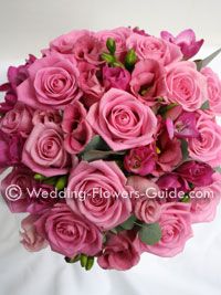 pink rose wedding bouquet close up