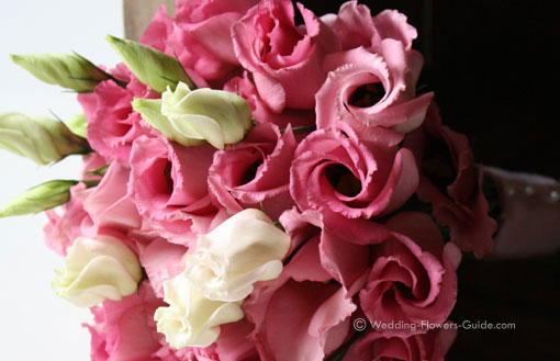 pink wedding bouquet created with lisianthus
