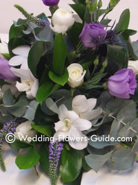 Purple wedding flowers with lisianthus