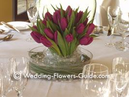 Purple tulips wedding centerpiece