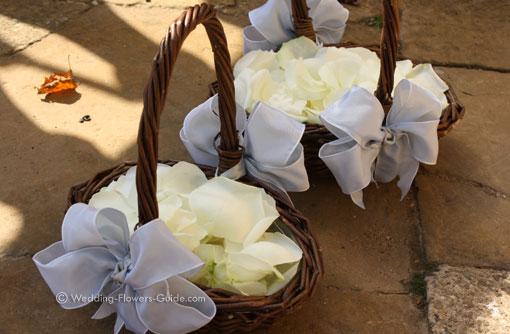 rose oetal basket for flowergirl