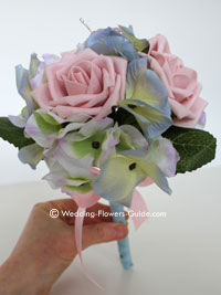 Silk blue and pink flower bouquet for a bridesmaid