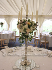 Elegant tall candelabra wedding centerpieces