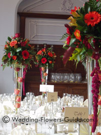 Tall October wedding flower centerpieces