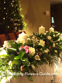 Christmas wedding flowers used on the bride and groom's top table
