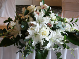 wedding reception flowers used on the top table