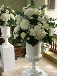 large urn wedding recetion flowers
