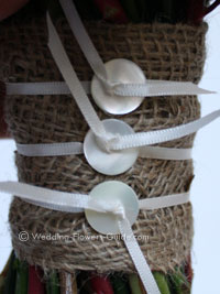 vintage buttons and hessian on wedding bouquet handle