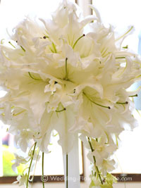 close up of white lily centerpieces