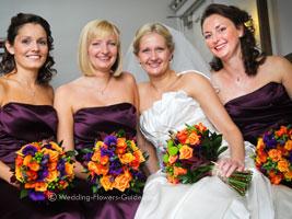 Real Weddings - Lindsay\'s Purple and Orange Wedding Flowers