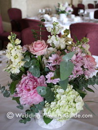 Mixed hydrangeas arranged into a vintage style for a wedding