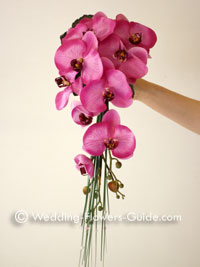 Silk cascade bouquet consisting of pink orchids