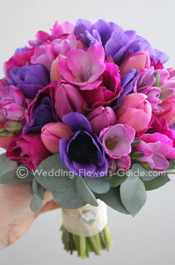 spring bridal bouquet created with tulips