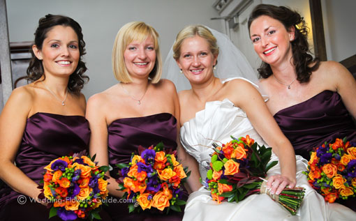 wedding flowers with bride and bridesmaids